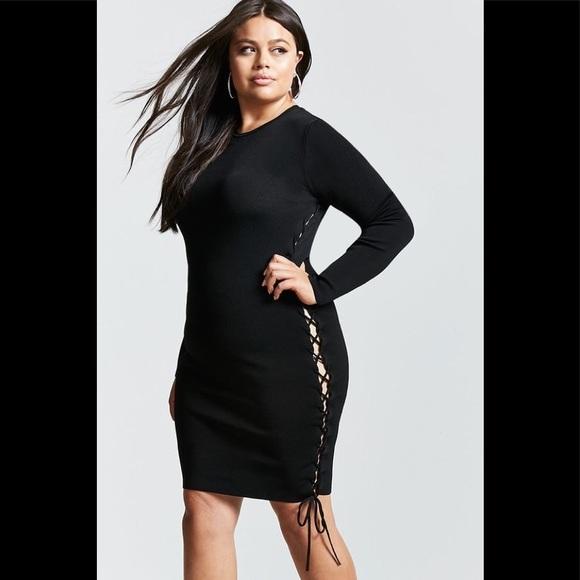 fc0cc706c8 Forever 21 plus size lace up bodycon dress Sz0X